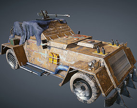 Apocalyptic armored vehicle game ready 3D model