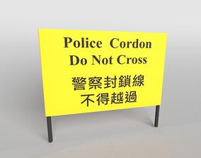 3D asset Hong Kong Warning Flag v1 003