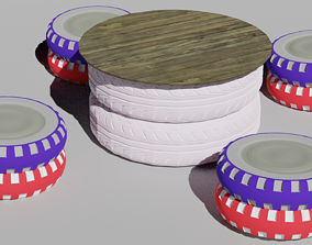 Outdoor table from recycled tires 3D model