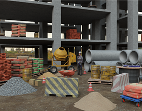 low-poly Construction site assets Low poly