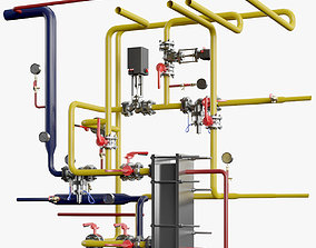 Industrial Pipes fire 3D model