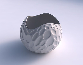 3D print model Bowl Spheric wavy with bubbles