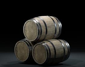 3D asset WoodenBarrelV-03