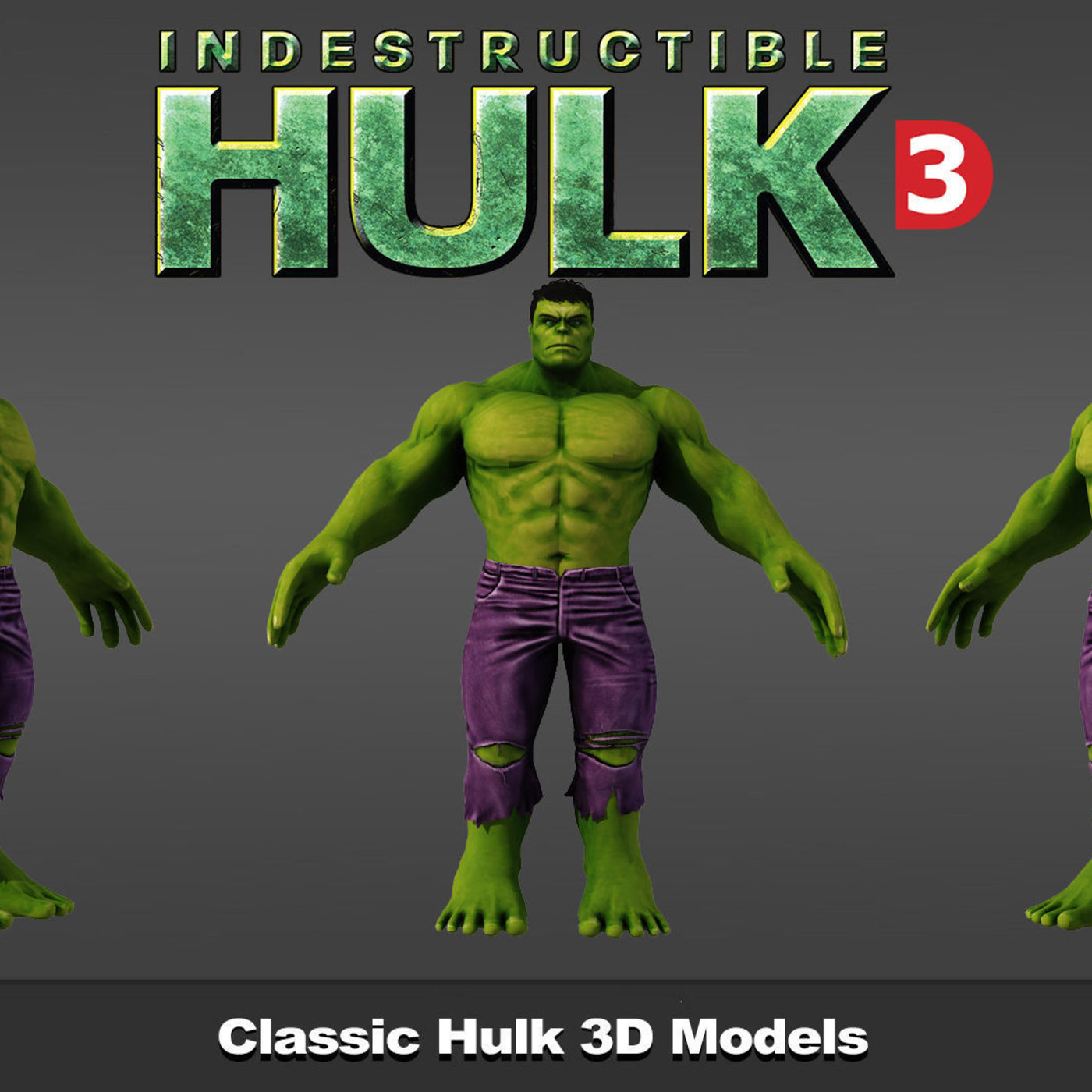 Hulk Classic 3d models in 3ds max 2010 render vray 2.4