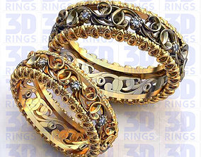 3D model Golden Wedding Rings with diamonds 641