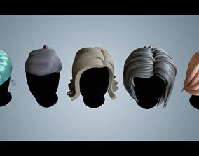 Base Haircuts 24-29 3D asset low-poly