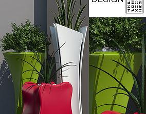 Barcelona design flowerpots set 01 3D model