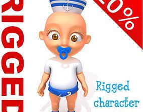 3D Sailor man baby Cartoon Rigged