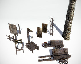 10 Medieval Props Collection for Games 3D asset