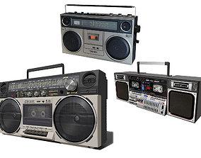 Retro Boom Box Ghetto Blaster Pack cassette 3D