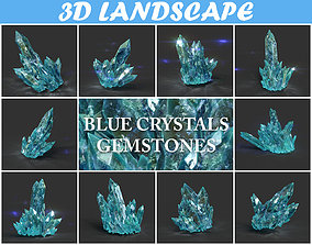 3D asset Low poly Blue Crystal Gemstone Pack 200114