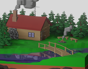 low poly isometric forrest hut 3D asset