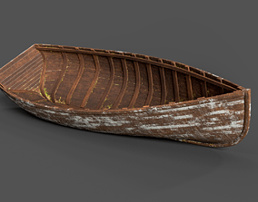 3D asset low-poly Beached Old Wooden Boat