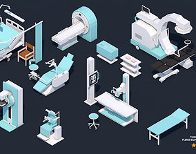 Low Poly Hospital Set - Medical Equipments 3D asset