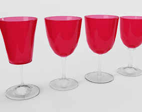 3D model Victorian Cranberry Glasses