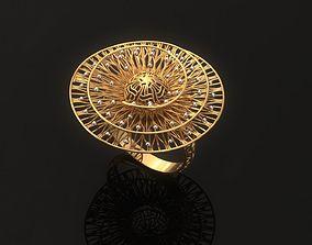 Electro-fusion fashion Gold Ring diamond 3D print model