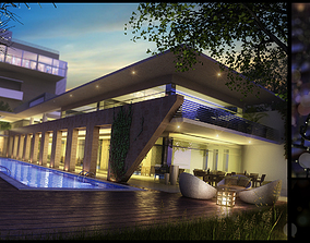 Modern Hotel With Swimming Pool 3D model