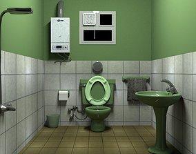 toilet-paper 3D model game-ready bathroom