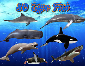 Low Poly 80 Fish Animated - Game Ready 3D model low-poly