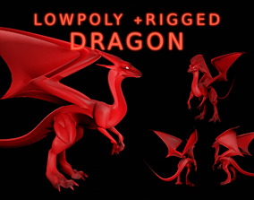 Fire Dragon 3D model rigged