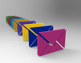 Low Poly Email Icon With Many Colors 3D model