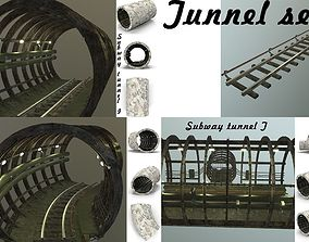 Subway tunnel set 3D asset