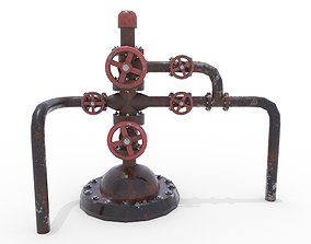 3D asset Oil Pumpjack Wellhead Weathered 2