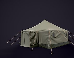 Military tent 3D model game-ready PBR