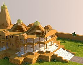 VR / AR ready Low poly model of a Temple