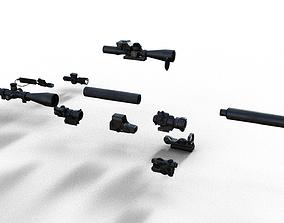 3D model Silencer Suppressor Scope 8x 6x Red dot laser All