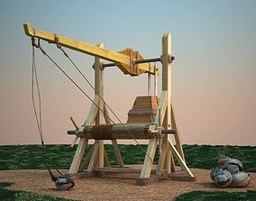 Medieval catapult Xlll-XlV century 3D model