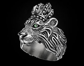 3D printable model Stylish ring Lion with a crown 451