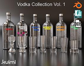 Vodka Bottle and Shot Glasses Pack 3D