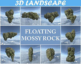 3D model Low poly Floating Island Mossy Rock Pack 190503