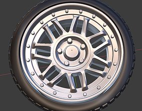 Snow flake alloy wheel with tire 3D print model