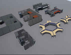 Office cubicle set 3D model realtime