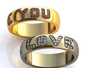 Gold Metal Rings with Diamonds LOVE YOU 101 3D print model