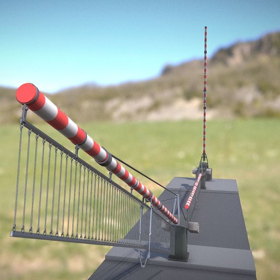Low-Poly Railroad Barrier 8m Protective Grid (Blender-2.91 Eevee)