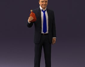 Man in dark blue suit bottle smile 0552 3D Print