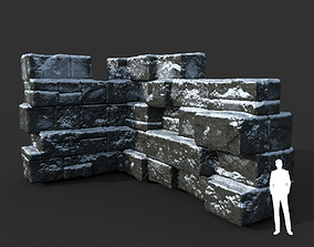 Low poly Snow Ruin Medieval Construction 06 3D asset