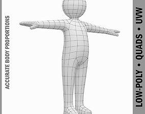 3D asset Baby Stickman Character