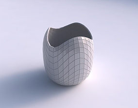 Bowl cylindrical with wavy grid plates 3D printable model