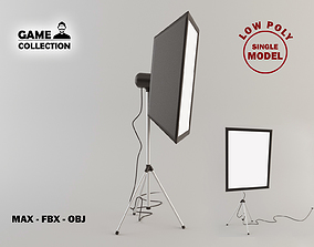 3D asset Photo studio Lamp 1 Lowpoly