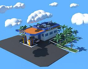 Cartoon Gas Oil Station 3D asset