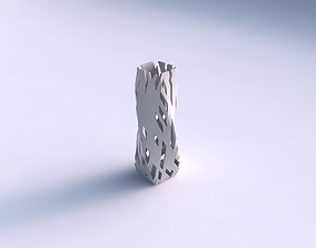 3D print model Vase twisted rectangle with cuts