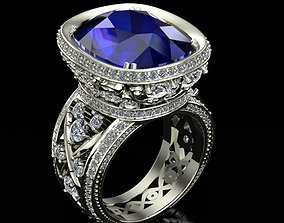 Ring with sapphire and diamonds 3D printable model