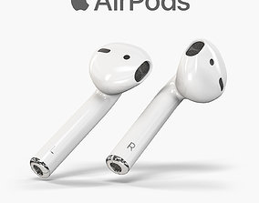 3D asset Apple AirPods wireless bluetooth earphones