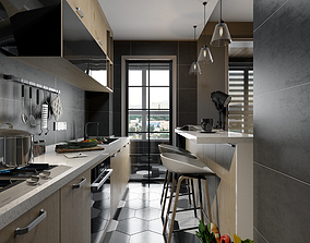 Modern Kitchen room 3D model