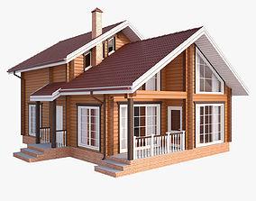cottage 3D Wooden house 02