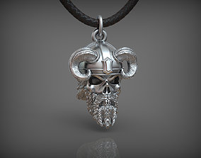 warrior 3D printable model Pendant Skull 02